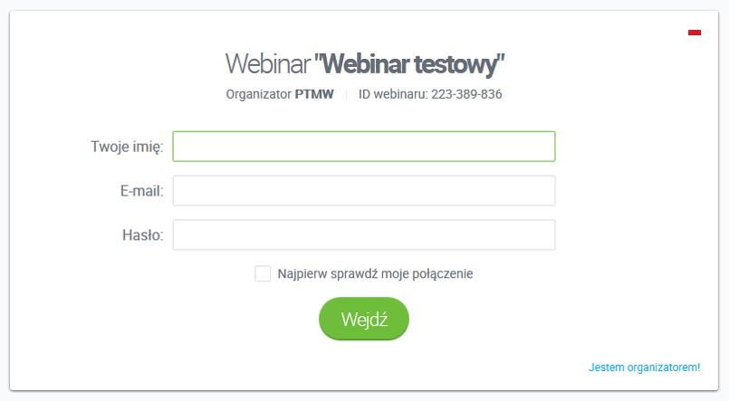 ekran logowania do webinaru